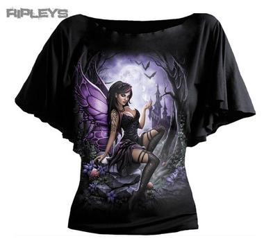 SPIRAL DIRECT Ladies Black Goth ENCHANTED Fairy Bat Wing Top All Sizes